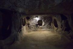 Derinkuyu Ondergrondse stad, Cappadocia Stock Afbeeldingen