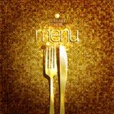 Derisione alla moda di progettazione di carta del menu del ristorante costoso su con la forcella ed il coltello dorati Immagine Stock