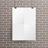 Derisione bianca del manifesto della parete della carta in bianco sul vettore del modello Illustrazione realistica Progettazione  Immagine Stock