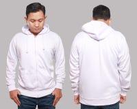 Derisione bianca di maglia con cappuccio su immagini stock libere da diritti