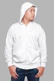 Derisione bianca di maglia con cappuccio su fotografia stock