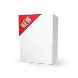 Derisione in bianco del pacchetto del cartone su con la NUOVA etichetta rossa, isolata su bianco Vector l'illustrazione, EPS10 Fotografie Stock Libere da Diritti