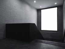 Derisione in bianco dell'insegna sul segno della scatola leggera dell'interno con le scale immagine stock libera da diritti