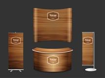 Derisione in bianco di progettazione del supporto di mostra della cabina della fiera commerciale su Immagine Stock Libera da Diritti