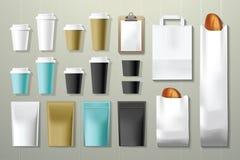Derisione d'imballaggio di identità corporativa del ristorante e della caffetteria sul modello Royalty Illustrazione gratis