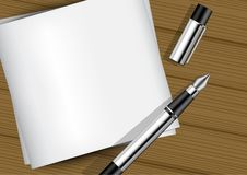 derisione 3D sulla penna stilografica realistica su Libro Bianco sull'illustrazione del legno del fondo fotografia stock libera da diritti