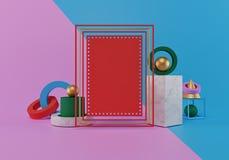 Derisione del manifesto su con le forme geometriche, rappresentazione 3d illustrazione di stock