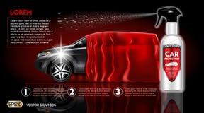 Derisione del packadge dello spruzzo di protezione dell'automobile di alta qualità sugli annunci Bottiglia del sapone dell'autola Fotografia Stock