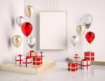 Derisione dell'interno sulla scena con rosso e contenitori e palloni di regalo dell'oro 3d lucido realistico obietta per i manife illustrazione vettoriale