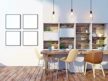 Derisione della parete interna della cucina e della sala da pranzo su su fondo bianco, 3D rappresentazione, illustrazione 3D Immagini Stock