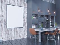 Derisione della parete interna della cucina e della sala da pranzo su su fondo bianco, 3D rappresentazione, illustrazione 3D Fotografia Stock Libera da Diritti