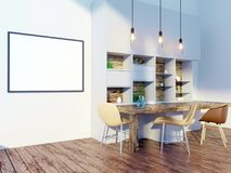 Derisione della parete interna della cucina e della sala da pranzo su su fondo bianco, 3D rappresentazione, illustrazione 3D Fotografie Stock Libere da Diritti