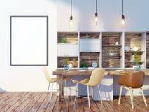 Derisione della parete interna della cucina e della sala da pranzo su su fondo bianco, 3D rappresentazione, illustrazione 3D illustrazione di stock