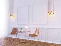 Derisione della parete interna del salone su su fondo bianco, 3D rappresentazione, illustrazione 3D Immagine Stock