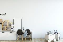 derisione della parete su Interno della stanza del ` s del bambino Stile scandinavo 3D rappresentazione, illustrazione 3D Fotografia Stock Libera da Diritti