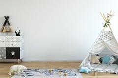 derisione della parete su Interno della stanza del ` s del bambino Stile scandinavo 3D rappresentazione, illustrazione 3D Immagine Stock