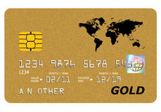 Derisione della scheda dell'oro della Banca in su isolata su bianco. Immagini Stock Libere da Diritti