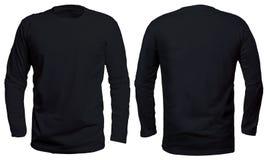 Derisione lunga nera della camicia della manica su fotografia stock libera da diritti