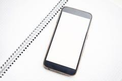 Derisione moderna dello smartphone su con lo schermo in bianco Fotografia Stock