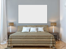 Derisione moderna sul interio della camera da letto della parete Immagini Stock