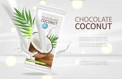 Derisione realistica di vettore del cioccolato della noce di cocco su progettazione d'imballaggio dell'etichetta del prodotto r illustrazione vettoriale