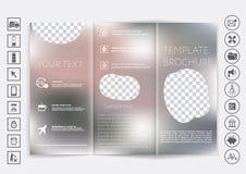 Derisione ripiegabile dell'opuscolo su progettazione di vettore Fondo unfocused regolare del bokeh Immagini Stock Libere da Diritti