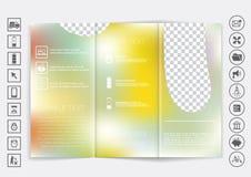 Derisione ripiegabile dell'opuscolo su progettazione di vettore Fondo unfocused regolare del bokeh Fotografia Stock Libera da Diritti