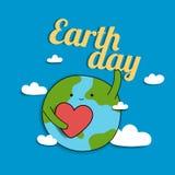 Derisione sul fumetto tagliato di carta di giornata per la Terra con il mondo, il cuore e la nuvola per l'insegna, progettazione  fotografia stock