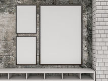 Derisione sul manifesto all'interno del salone 3d Fotografie Stock Libere da Diritti