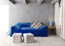 Derisione sulla parete nell'interno con il sofà stile dei pantaloni a vita bassa del salone royalty illustrazione gratis