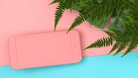Derisione sullo smartphone di colore su fondo tropicale rappresentazione 3d 3d immagine stock