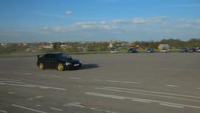 Deriva de Subaru Impreza de la evolución de Mitsubishi Lancer, fricción, compitiendo con metrajes