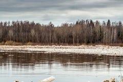 Deriva del hielo de la inundación de la primavera almacen de metraje de vídeo
