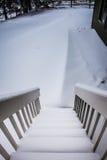 Deriva della neve al fondo delle scale Fotografia Stock