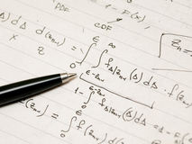 Derivation of an advanced mathematical formula Royalty Free Stock Photography