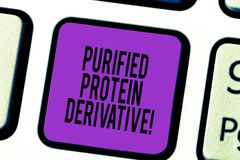 Derivato della proteina purificato testo della scrittura Concetto che significa l'estratto di chiave di tastiera di mycobacterium fotografie stock