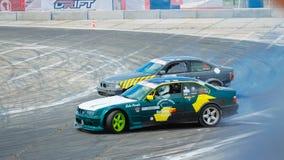Derive os carros desportivos que competem em uma raça na competição 09 da tração de Vinnytsia 07 2017, foto editorial Imagens de Stock
