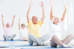 Deriving pleasure from fitness for seniors classes Stock Photo