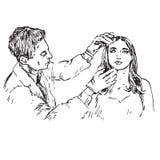 Dermatolog egzamininuje skórę pacjenta piękna twarz, ręka rysujący doodle, nakreślenie ilustracja wektor