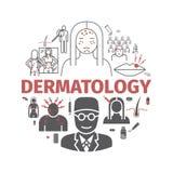 Dermatologia sztandar Kreskowe ikony ustawiać Wektorów znaki dla sieci grafika ilustracja wektor