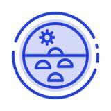 Dermatologie, trockene Haut, Haut, Hautpflege, Linie Ikone der Haut-blauen punktierten Linie lizenzfreie abbildung