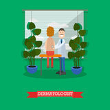 Dermatologist and patient vector illustration in flat style Royalty Free Stock Photos