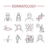 dermatology Geplaatste lijnpictogrammen Stock Afbeelding