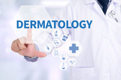 DERMATOLOGY. Medicine doctor working with computer interface as medical Stock Photos