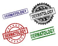 Damaged Textured DERMATOLOGY Stamp Seals. DERMATOLOGY seal prints with corroded texture. Black, green,red,blue vector rubber prints of DERMATOLOGY tag with dust vector illustration