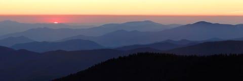 Dernière lumière du panorama du dôme de Clingman Image libre de droits