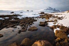 Dernière lumière sur Gunnolfsvikurfjall, Islande du nord Images libres de droits