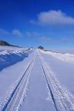 Dernière route du dollar après des chutes de neige, CA Photos stock