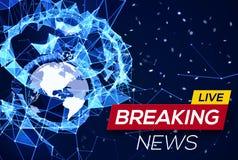 Dernières nouvelles Live Banner sur le plexus rougeoyant bleu Image stock