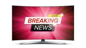 Dernières nouvelles Live Vector Écran rouge de TV Concept d'actualités de technologie Illustration d'isolement Photo libre de droits